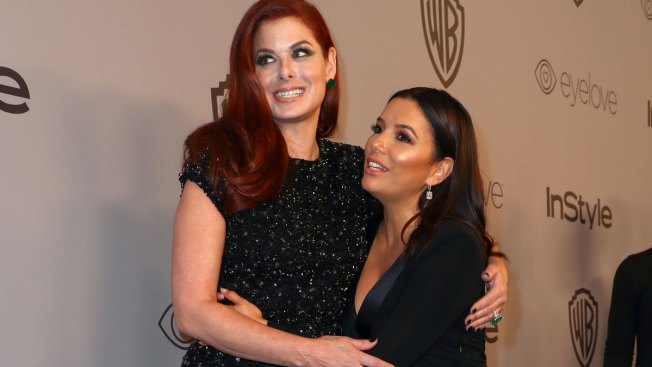 Debra Messing, Eva Longoria Call Out E! on Pay Equality on Golden Globes Red Carpet