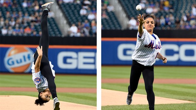 Laurie Hernandez Flips Out for First Pitch at Mets Game