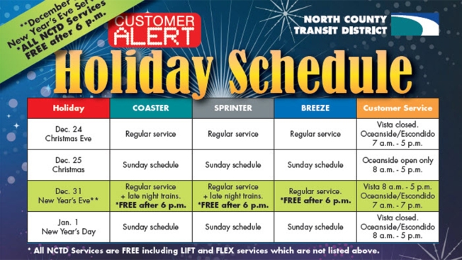 NCTD Holiday Schedule Offers Free NYE Service