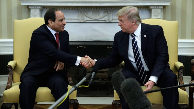 Trump embraces Egyptian president amid human-rights concerns