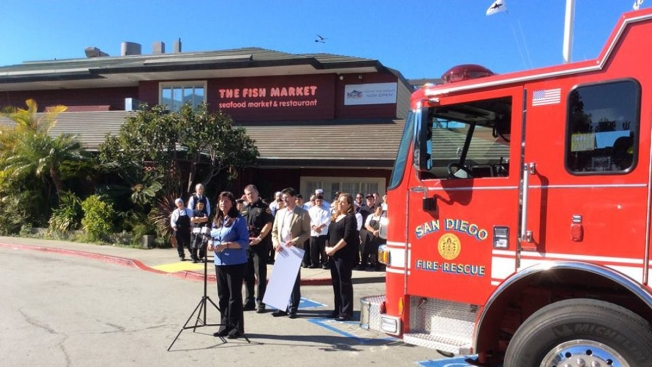 Back From Ashes, Top of the Market Restaurant Donates to San Diego Fire-Rescue Department