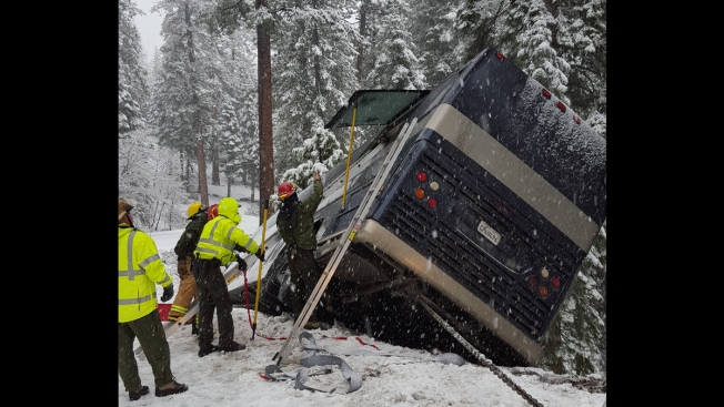 Tour Bus Slides Off Icy Road in Yosemite