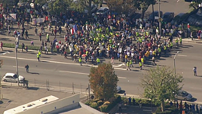 Walmart Protest Spills into Streets of Paramount