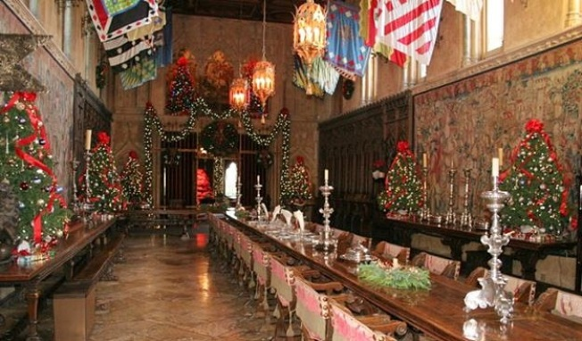 Hearst Castle, with Bells and Bows On