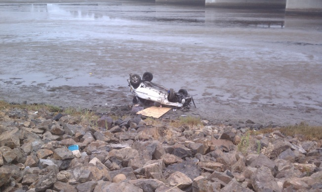 Car Flips Into River Along Interstate 8