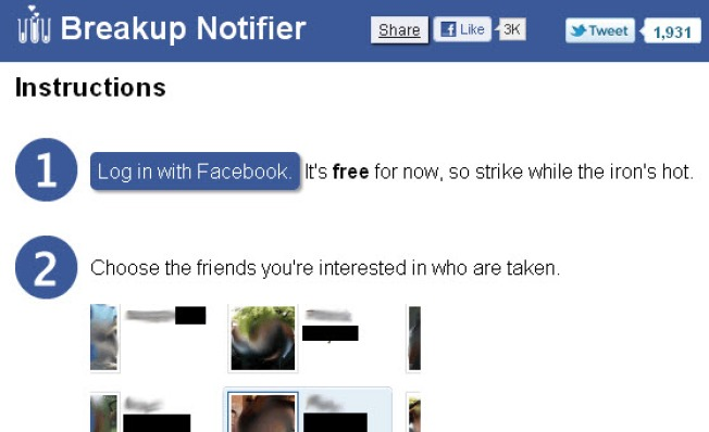Breakup Notifier: Find Out Who's Single Faster on Facebook