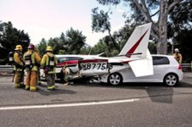 Cars Crash Into Plane on 101 in SoCal