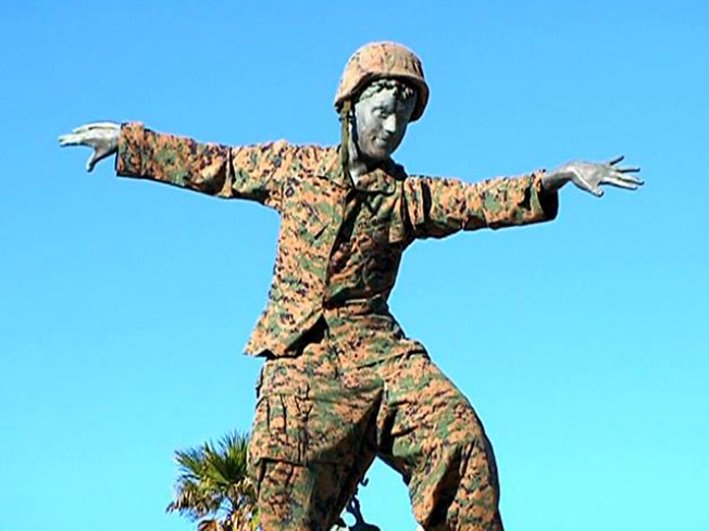 Cardiff Kook Dressed in Camouflage