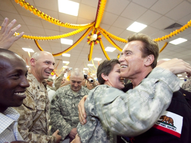 Schwarzenegger Pumps Up Troops