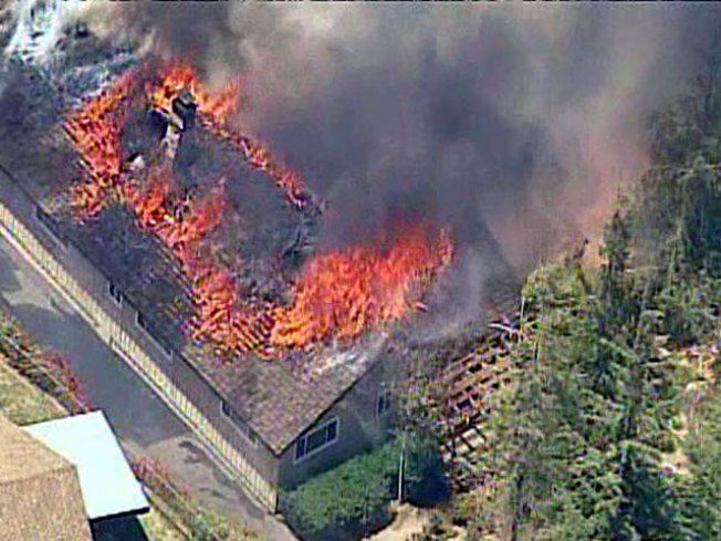 Home Engulfed By Fast-Moving Flames