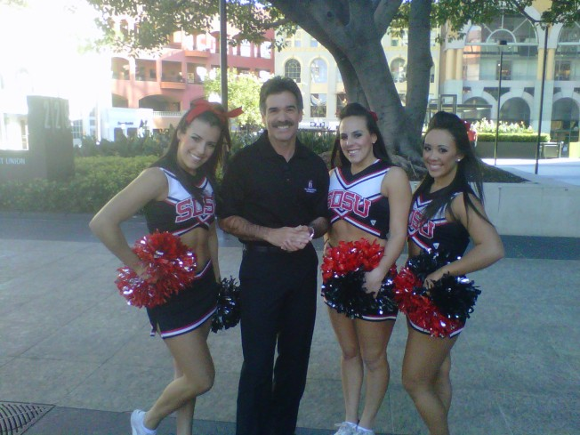 Artie Ojeda is hanging out with Aztec Cheerleaders because...