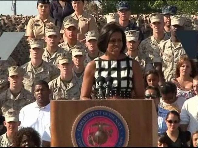 First Lady Visits Local Troops