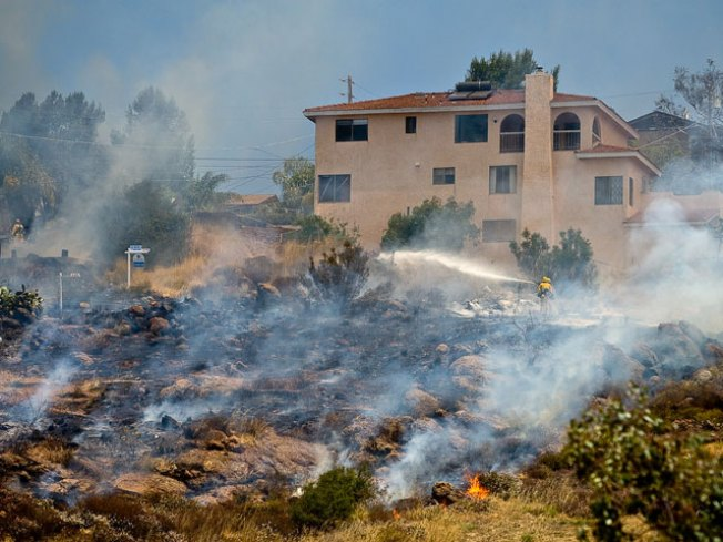 Brush Fire Threatens Spring Valley Homes
