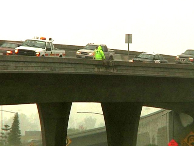 Chunks of Cement Fall Onto Freeway