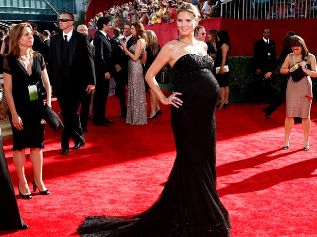 Pregnant Heidi Klum Keeps Firefighters On Their Toes On Emmys Red Carpet