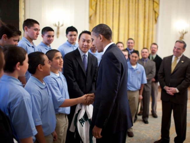 Little-Leaguers Finally Meet the President