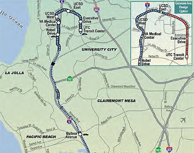SANDAG Proposal Extends Trolley to University City - NBC 7 ... on sd coaster map, sd trolley orange line, sd trolley stops near airport, san juan bus route map,