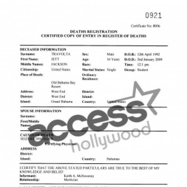 Death Certificate Indicates Jett Travolta Succumbed To