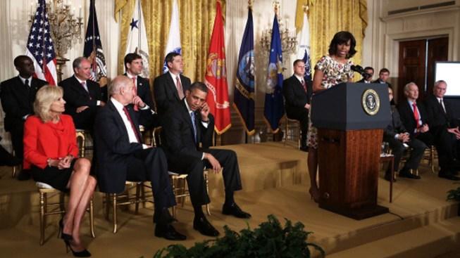 Obamas, Bidens Call for Jobs for Veterans