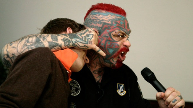 "Tattoo-Covered ""Scary Guy"" Combats Bullying, Nabs $6.5K Per Gig"