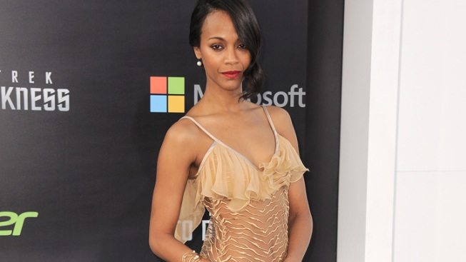"Zoe Saldana Goes Green for ""Guardians"""