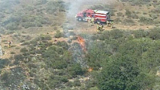Fire Burns in Mission Valley Near Friars Road