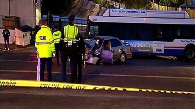 Car Crashes Into City Bus