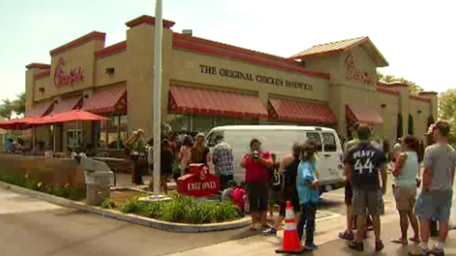Local Supporters Gather for 'Chick-fil-A Appreciation Day'