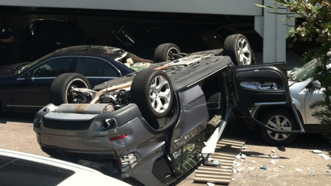 Car Falls from Parking Structure at Fashion Valley Mall