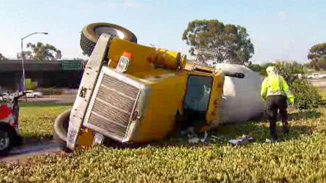 Cement Truck Overturns at I-805, Balboa Avenue