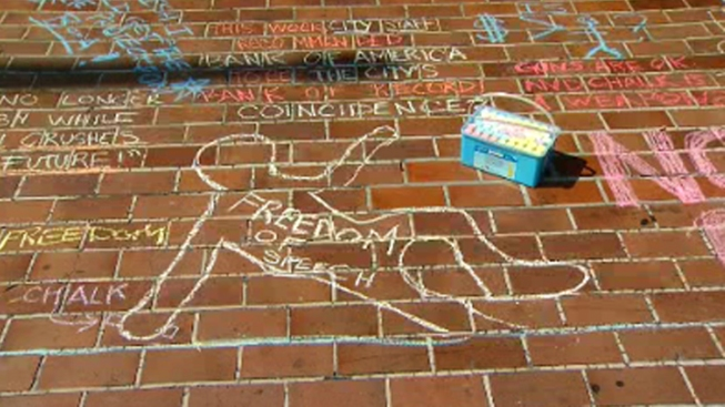 Group Gathers for 'Chalk-U-Py' Protest