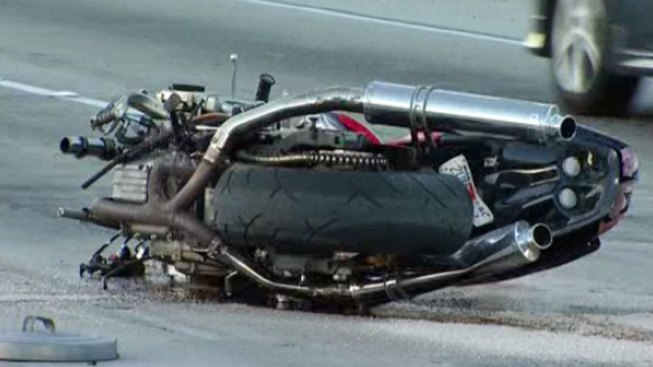 Motorcycle Crashes into I-15 Center Divide