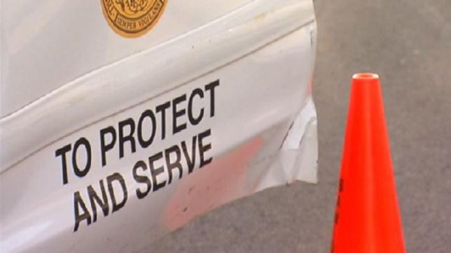 Cop Car Damaged, Driver Flees