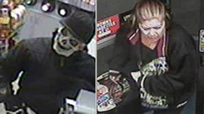 "Woman Sought in ""Skeleton-Masked"" Robbery"