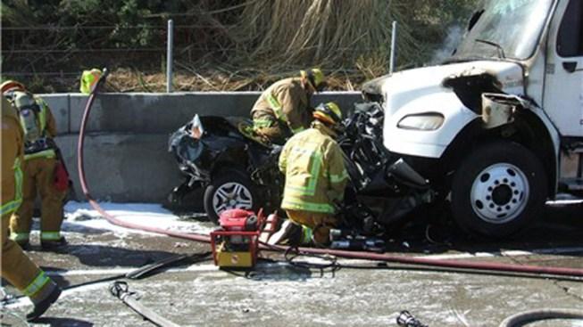 4 Injured in Fiery Tanker Truck Crash