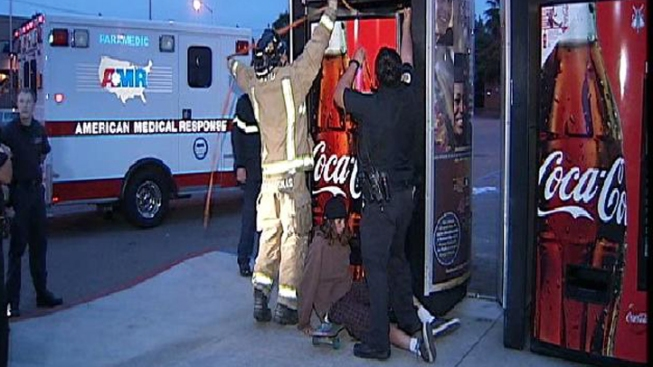 Teen Tries to Steal Soda, Gets Stuck in Vending Machine