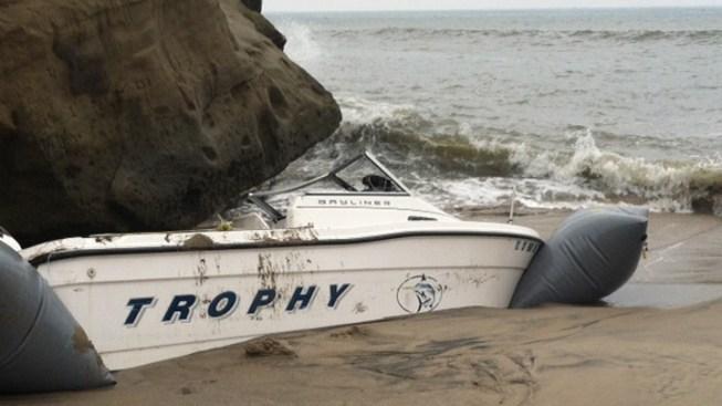 Border Patrol Agents Investigate Suspicious Abandoned  Boat