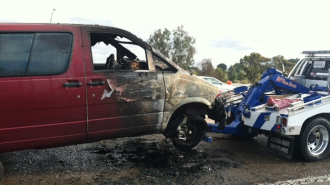 Van Catches Fire on Freeway