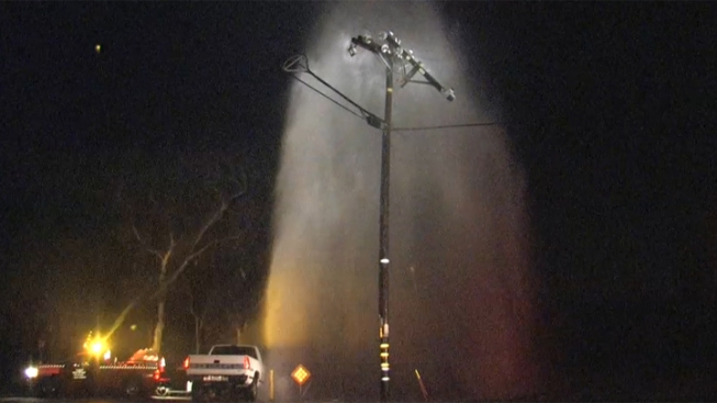 Hydrant Sheared in Crash Spews Water Into Power Lines