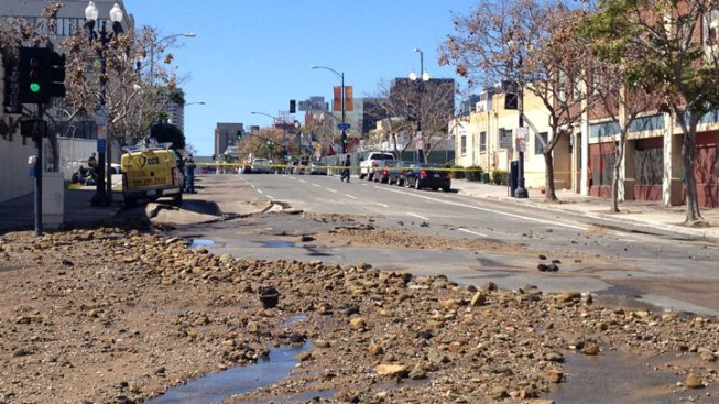 Water Main Break in East Village San Diego