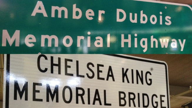 Highway Signs Dedicated to Slain Teens