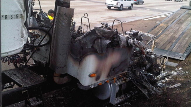 Big Rig Fire Erupts on Freeway