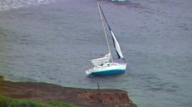 Boat Hits Shore in Point Loma