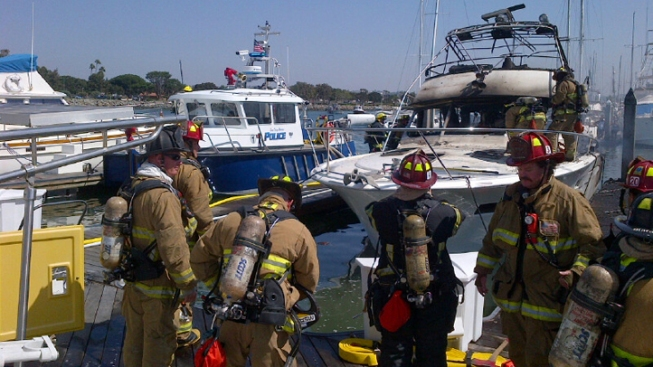 Boat Catches Fire at Harbor Island