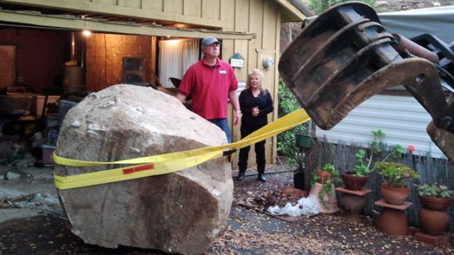 Company Removes Boulder from Poway Home
