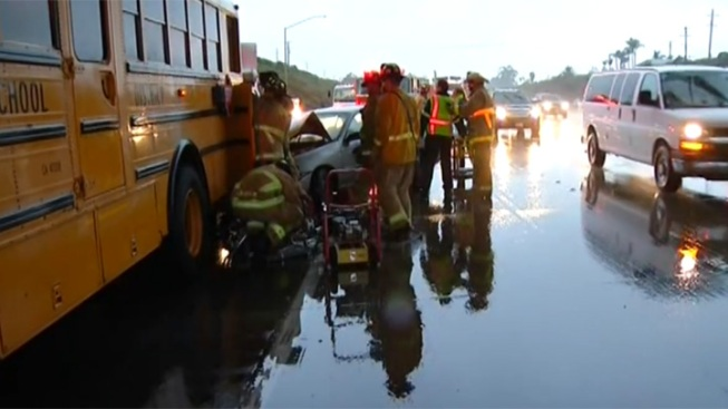 Bus Driver Killed After Car Slams into School Bus