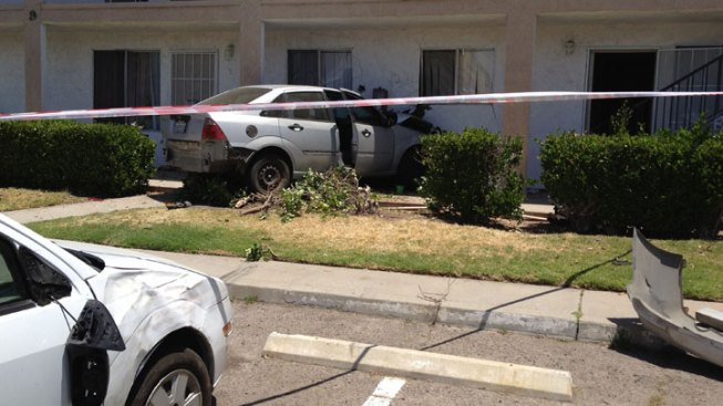 Car Crashes into Ramona Apartment Building