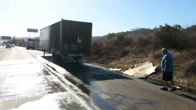 Dairy Truck Blaze Ignites Brush Fire