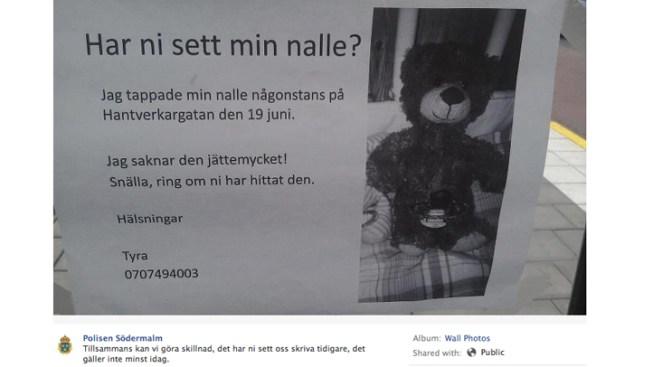Stockholm Police Help Girl Find Lost Teddy Bear