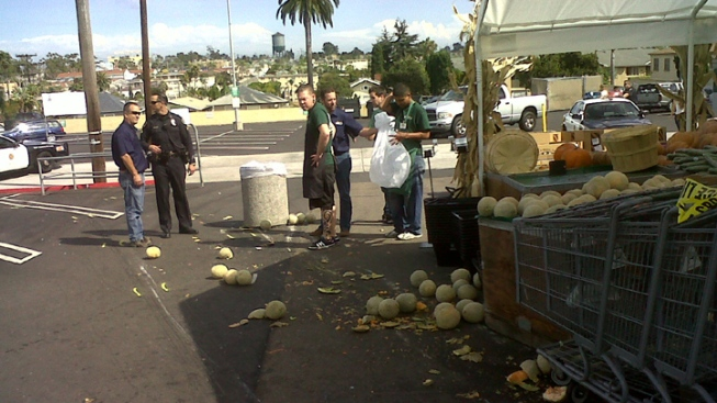 Elderly Man Drives Through Produce Stand